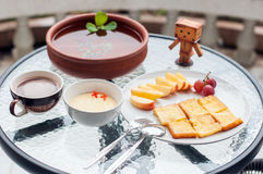 Toast with fruit and chocolate milk Stock Image