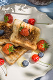 Toast with fruit and honey served in the garden Royalty Free Stock Image