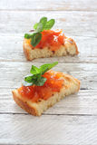 Toast with fruit jam Stock Images