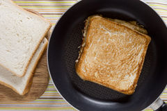 Toast on frying pan Stock Photography