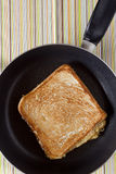 Toast on frying pan Stock Photo