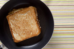 Toast on frying pan Royalty Free Stock Photos