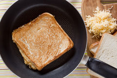 Toast on frying pan Stock Photos