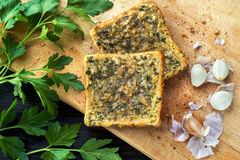 Toast with garlic and parsley. Slices of toast with garlic and parsley Stock Images