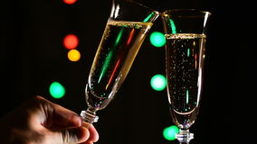 Toast with a glass of champagne stock video