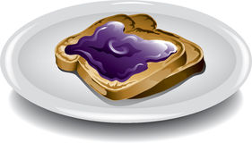 Toast with grape jelly Royalty Free Stock Photography