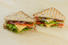 Toast grilled cheese Bacon, Lettuce and Tomato Sandwiches Stock Images