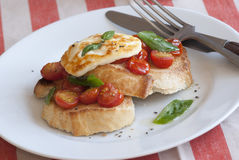 Toast with Halloumi Stock Photo