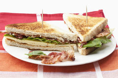 Toast with ham, cheese and salad Royalty Free Stock Images