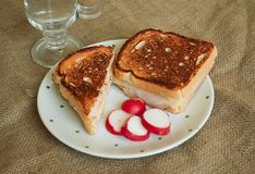 Toast with ham and cheese Royalty Free Stock Image