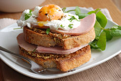Toast with ham and egg Royalty Free Stock Photography