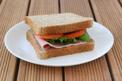 Toast with ham and tomato Royalty Free Stock Photo