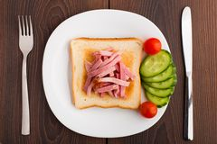 Toast with ham and vegetables Royalty Free Stock Image