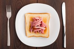Toast with ham Stock Photos