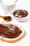 Toast with hazelnut spread Royalty Free Stock Photography
