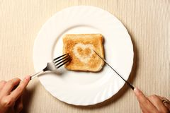 Toast and heart Royalty Free Stock Photography