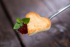 Toast Heart on a fork Royalty Free Stock Image