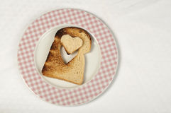 Toast with heart-shaped Royalty Free Stock Images
