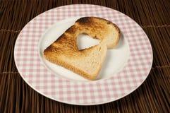 Toast with heart-shaped Stock Photos