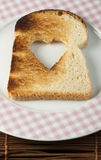 Toast with heart-shaped Royalty Free Stock Photography