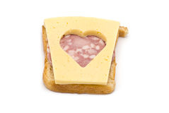 Toast with heart-shaped Cheese and Sausage Stock Photo