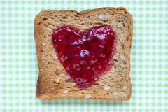 Toast with heart Stock Photo
