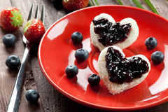 Toast hearts with jam Royalty Free Stock Photos