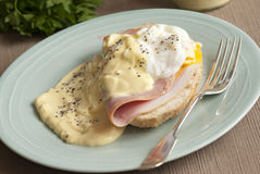 Toast with Hollandaise sauce Royalty Free Stock Photos