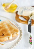 Toast, honey and blue cheese Royalty Free Stock Photography