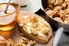 Toast Honey Walnuts Tea Stil Life Table Healthy Food Royalty Free Stock Image