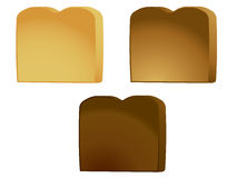 Toast isolated. Three pieces of toast isolated on a white background vector illustration