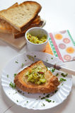 Toast with jalapeno pepper cream. Royalty Free Stock Photos