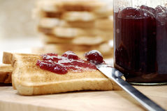 Toast with jam Royalty Free Stock Photography