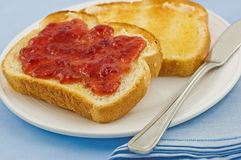 Toast and jam Royalty Free Stock Images