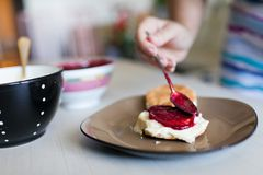Toast and jam. Bread with  strawberry jam closeup Stock Image