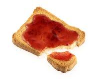 Toast and jam. Isolated on white royalty free stock photo