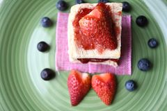 Toast with jam and berries in the morning coffee. This is easy for breakfast Royalty Free Stock Photography