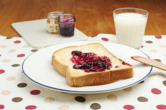 Toast and jam for breakfast. Toast with jam and milk for breakfast Stock Photography