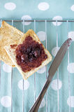 Toast with jam for breakfast Stock Photos