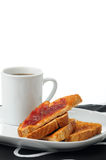 Toast with Jam and Coffee Stock Image