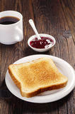Toast with jam and coffee Royalty Free Stock Photo