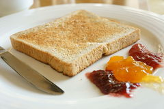 Toast and jam Royalty Free Stock Photos