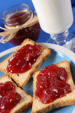 Toast with jam fruit Stock Photography