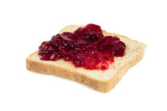 Toast with jam isolated on white background Royalty Free Stock Photo