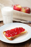 Toast with jam and milk Royalty Free Stock Image
