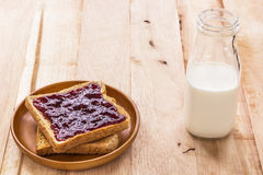 Toast with jam and milk bottle Royalty Free Stock Images