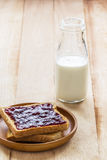 Toast with jam and milk bottle Stock Photo