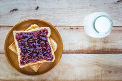 Toast with jam and milk bottle Stock Images