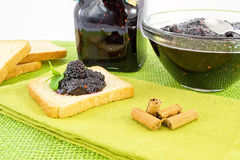 Toast with jam and mulberry Royalty Free Stock Image