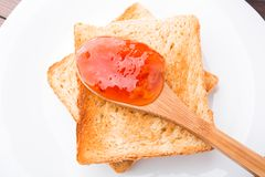 Toast with jam on a plate Royalty Free Stock Photo